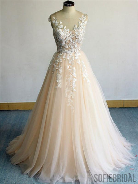 A-line Round Neck Long Tulle Lace Appliques Prom Dresses, PD0095