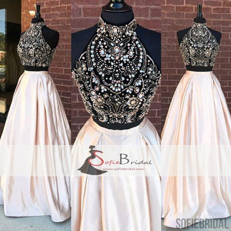2 Pieces Rhinestone Beaded Top Satin Prom Dresses, Gorgeous Long Prom Dresses, PD0470