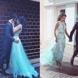 Two Piece Blue Tulle Gorgeous Long A-line Lace Prom Dresses, Long Prom Dresses, PD0220