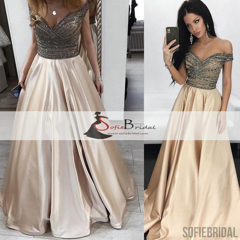 Off  Shoulder Beaded Top A-line Satin Prom Dresses, Gorgeous Long Prom Dresses, PD0465