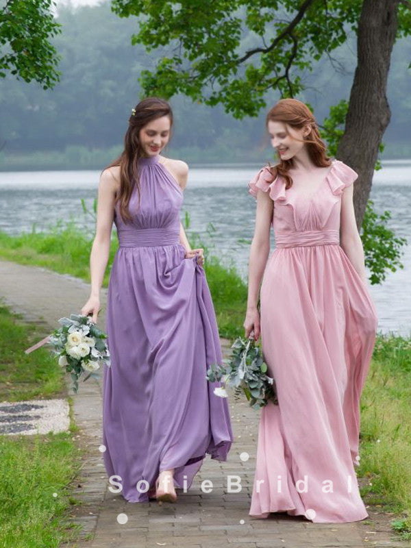 A-Line Mismatched Chiffon Long Bridesmaid Dresses With Pleats,SFWG0004