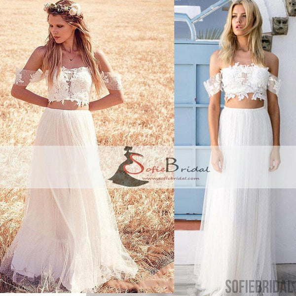Off Shoulder Lace Top Wedding Dresses, Boho Wedding Dresses, 2 Pieces Wedding Dresses, WD0271