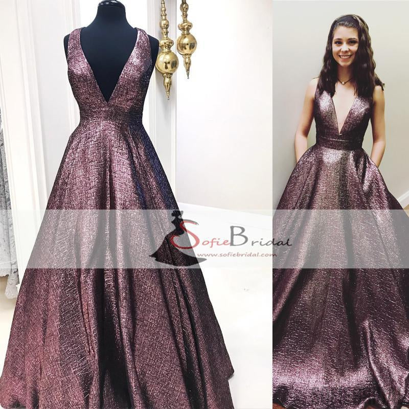 V-neck A-line Gorgeous, Elegant Prom Dresses, Affordable Prom ...