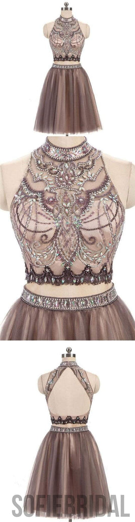 2 Pieces High Neck Rhinestone Beaded Tulle Homecoming Dresses, Short Prom Dresses, SF0090