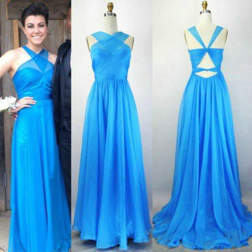 Blue Special Design Long A-line Chiffon Prom Bridesmaid Dresses, PD0297