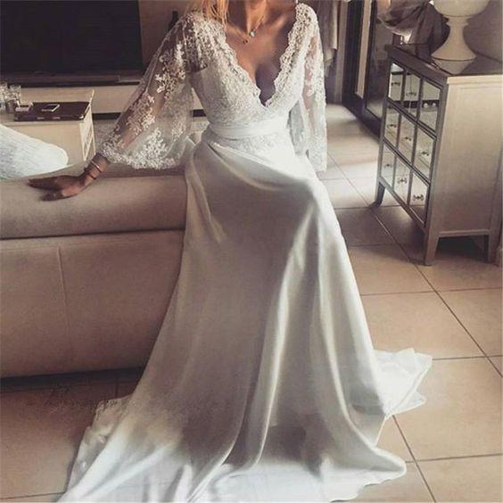 Boho Style Long Sleeve V-neck Long A-line Lace Chiffon Wedding Dresses, WD0096