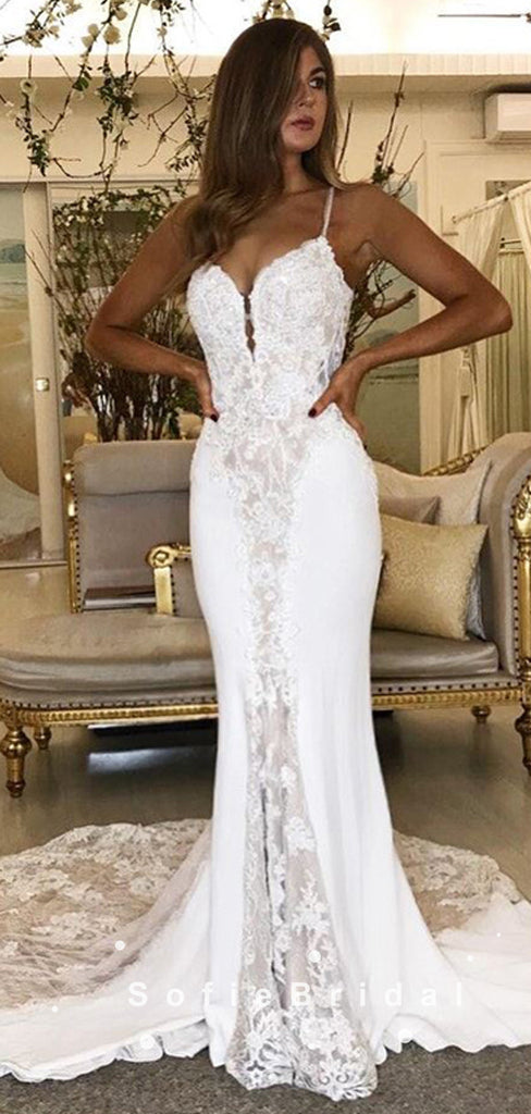 Mermaid Spaghetti Straps Long Wedding Dresses With Lace,SFWD0005