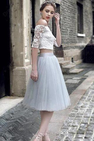 2 pieces Lace Top Half Sleeve Light Grey Tulle Skirt Homecoming Dresses, Popular Homecoming Dresses, SF0087