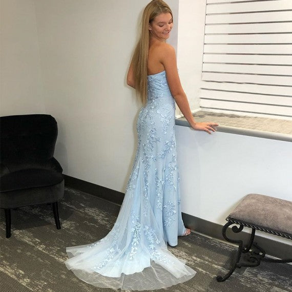 Strapless Mermaid Sky Blue Long Lace Prom Dresses With Split, PD1041
