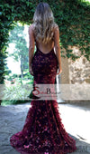 Lovely Sequin Tulle Cross Back Prom Dresses, Sexy Mermaid Prom Dresses, Formal Dresses, PD0380