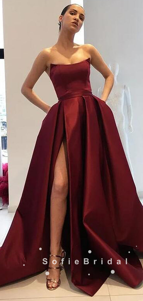 A-Line Strapless Burgundy Satin Cheap Floor Length Prom Dresses With Slit,SFPD0051