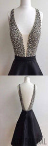 Short black rhinestone backless sexy freshman homecoming prom dress,BD0050
