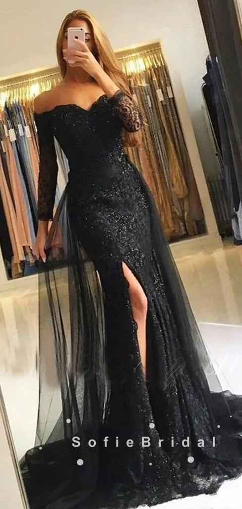 Mermaid Off The Shoulder Long Sleeves Black Split Side Detachable Prom Dresses With Lace,SFPD0052