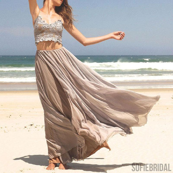 2 Pieces Spaghetti Lace Top Chiffon Prom Dresses, Chic Long Prom Dresses,PD0341