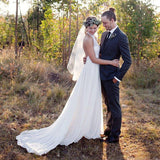 Most Popular Halter Lace Chiffon Illusion Wedding Dresses, Cheap Country Wedding Dresses, WD0230