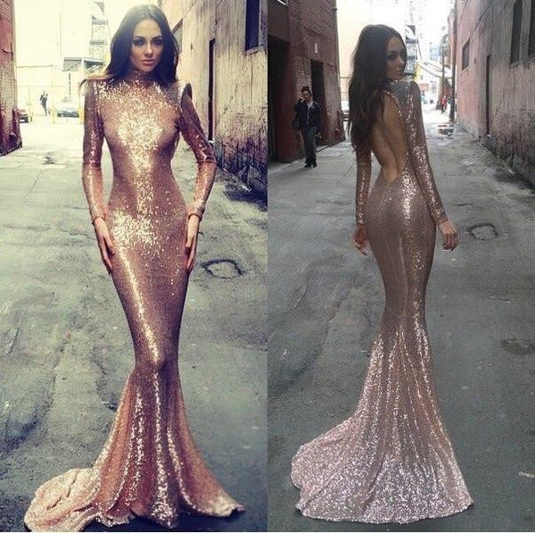 Sparkle High Neck Long Sleeve Sexy Mermaid Sequin Long Prom Dresses, PD0230