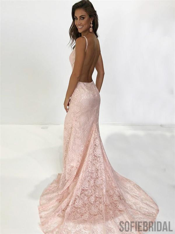 Blush Pink Lace Mermaid Prom Dresses, Long Prom Dresses, Backless Prom Dresses, PD0643