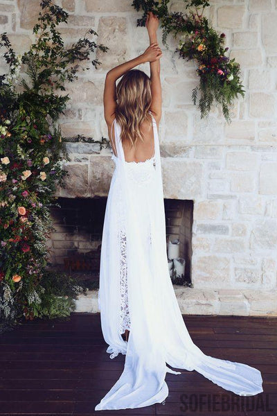 Spahgetti Straps V Neck Side Slit Simple Beach Wedding Dresses, WD327