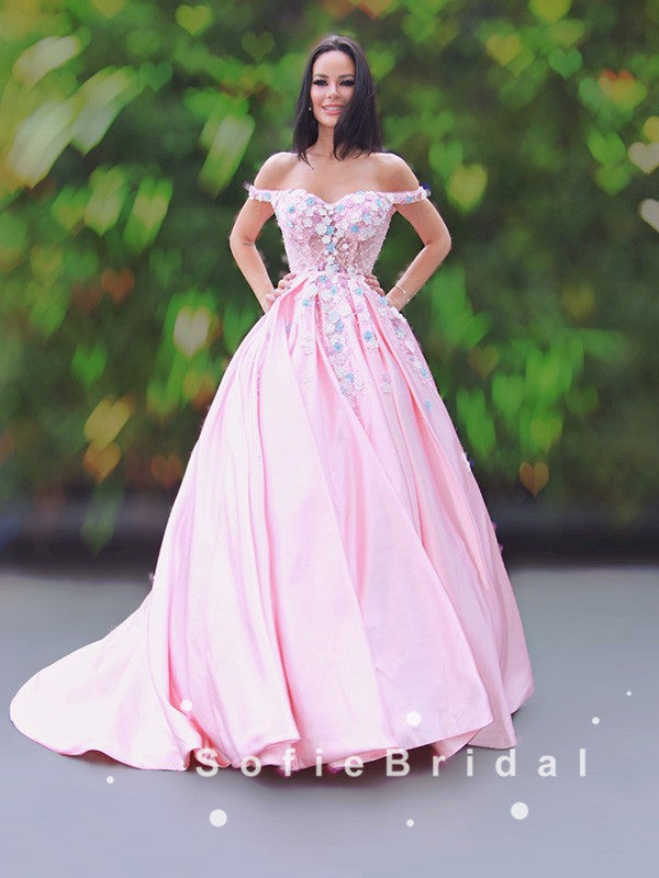 Ball Gown Off The Shoulder Pink Floor Length Prom Dresses With Appliques,SFPD0053