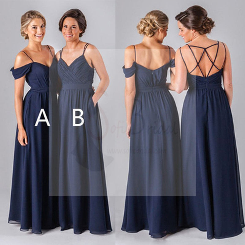 Mismatched Different Styles Chiffon Navy Blue Floor-Length A Line Formal Cheap Sexy Bridesmaid Dresses, WG52