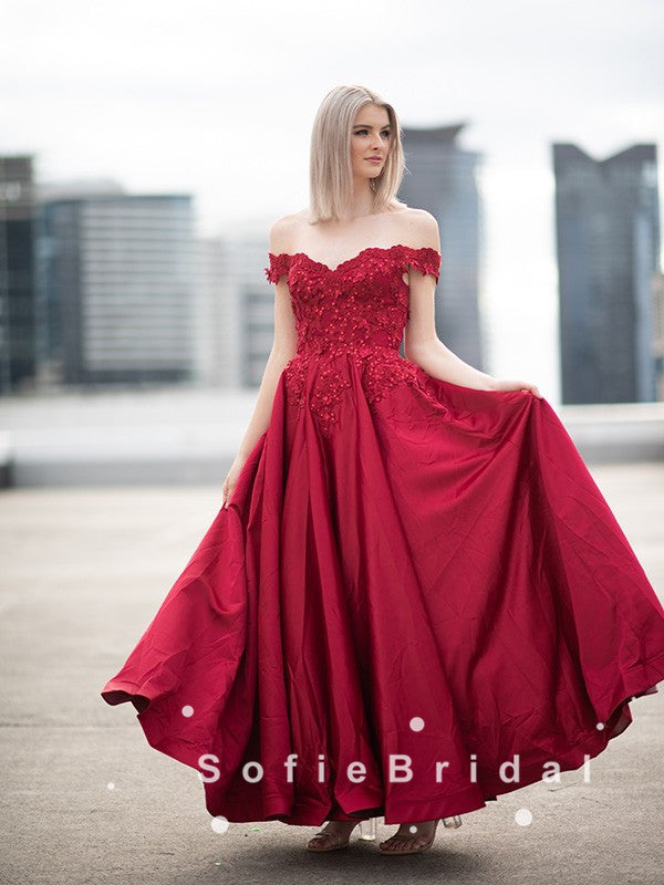 A-Line Off The Shoulder Red Satin Beaded Long Prom Dresses With Lace,SFPD0054