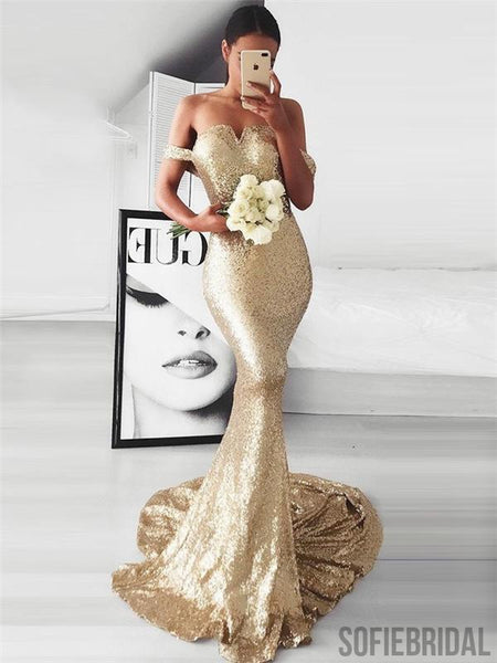 Off Shoulder Mermaid Sequin Prom Dresses, Sexy Prom Dresses, Cheap Prom Dresses, PD0644