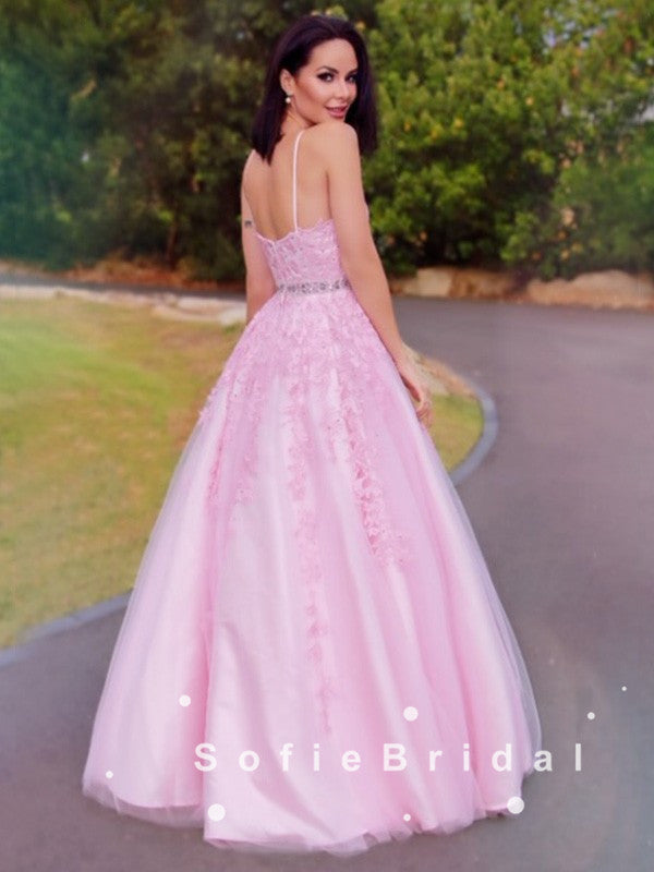 A-Line Halter Pink Tulle Lace Long Prom Dresses With Beading,SFPD0055