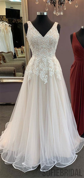 A-line V-neck Lace Appliques Long Tulle Prom Dresses, PD0080