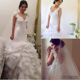 V-neck Appliques Sleeveless Long Mermaid Organza White Wedding Dresses, WD0223