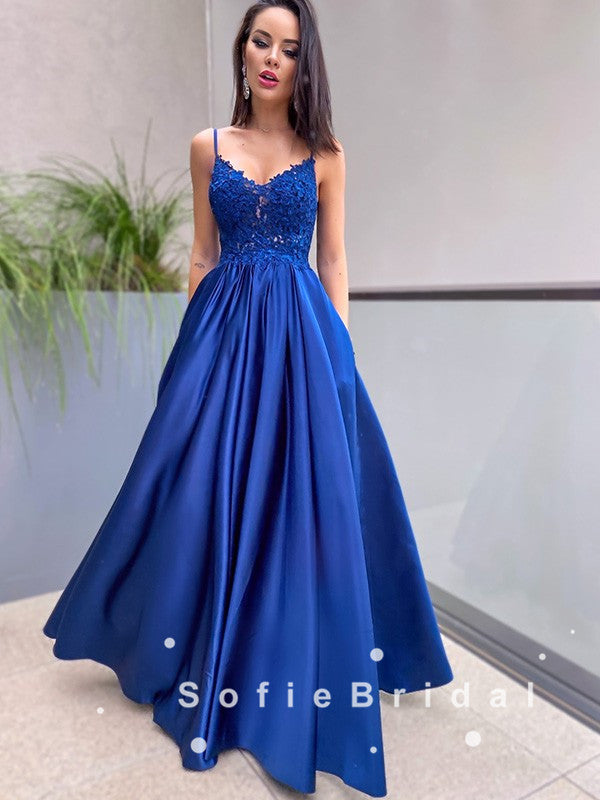 A-Line V-Neck Spaghetti Straps Royal Blue Long Prom Dresses With Lace,SFPD0056