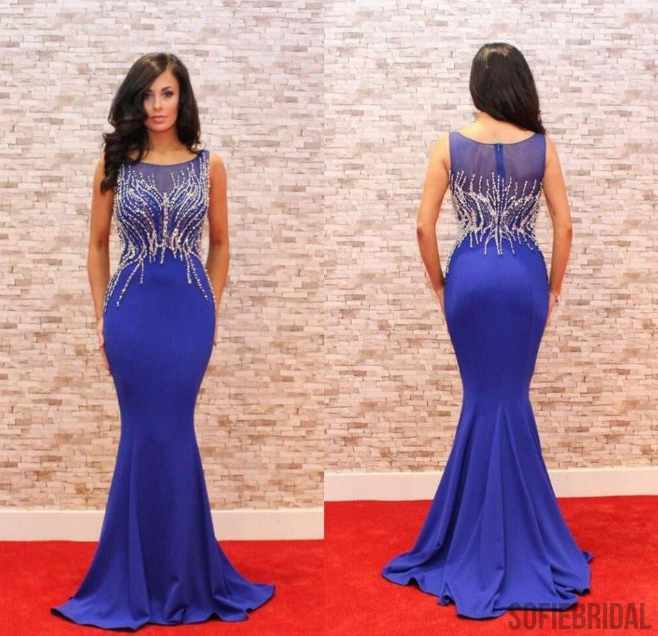 Sparkle Scoop Royal Blue Beaded Sleeveless Long Mermaid Prom Dresses, 2017 Prom Dresses, PD0233