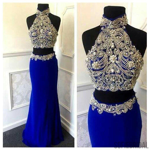 Gorgeous High Neck Two Pieces Sexy Mermaid Navy Blue Jersey Prom Dresses, WD0223
