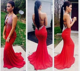 Sexy Red Jersey Beaded Long Prom Dresses, 2017 Prom Dresses, WD0226