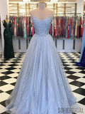 A-line Straps Blue Sleeveless Lace Sparkly Tulle Prom Dresses, PD0079