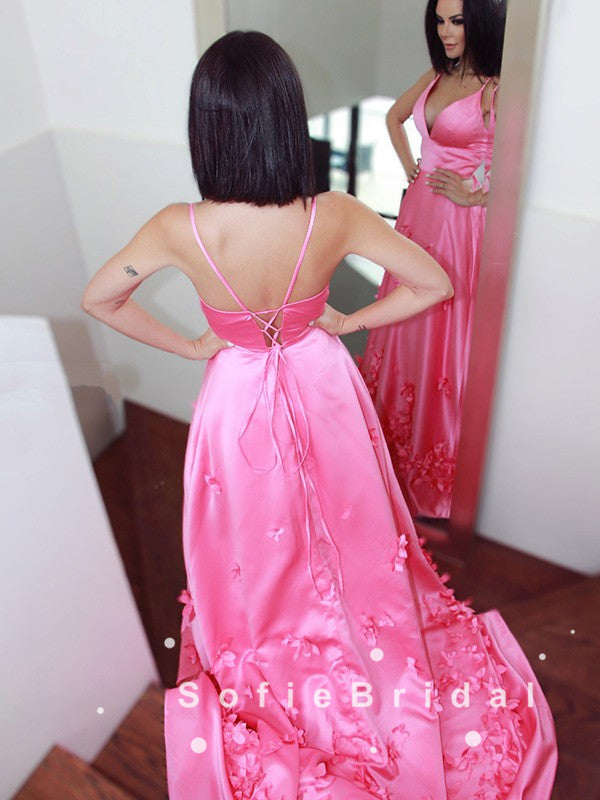 A-Line V-Neck Spaghetti Straps Pink Long Prom Dresses With Flowers,SFPD0058