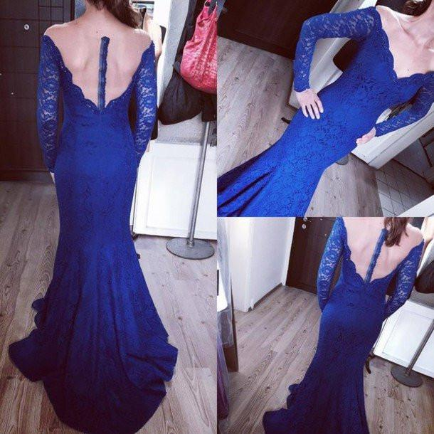 Sexy Royal Blue Off Shoulder Long Sleeve Mermaid Lace Long Prom Dresses, WD0225