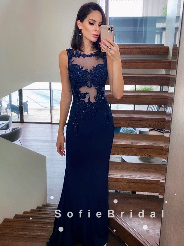 See Through Mermaid Sleeveless Navy Blue Lace Long Prom Dresses With Beading,SFPD0059