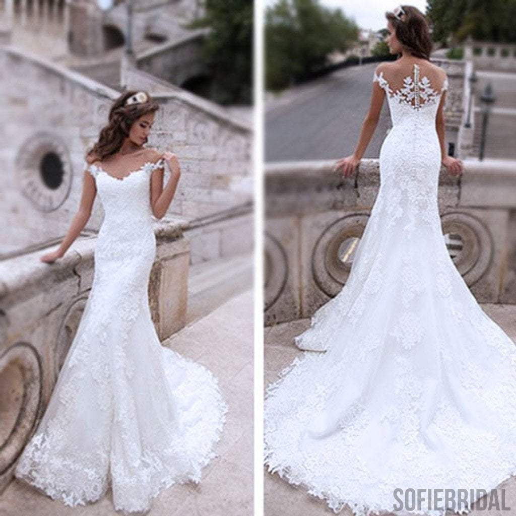White Lace Mermaid Gown: Charming Off Shoulder Sexy Mermaid White Lace Bridal Gown