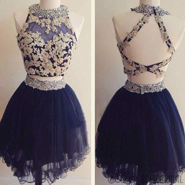 Popular navy two pieces gorgeous lovely homecoming prom dresses, SF0067