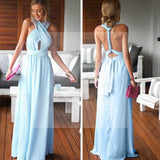 Cheap Simple Convertible Blue Long Bridesmaid Dresses for Summer Beach Wedding Party, WG59