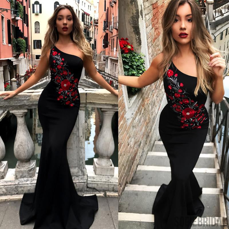 One Shoulder Mermaid Black Embroidery Pretty Long Prom Dresses, Cheap Prom Dresses, PD0355
