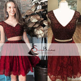 2 Pieces Beaded Lace Homecoming Dresses, Lovely Short Prom Dresses, Homecoming Dresses, SF0095