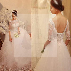 Illusion Half Sleeve Lace Beaded Tulle Wedding Dresses, Vantage Lace Bridal Gown, WD0005