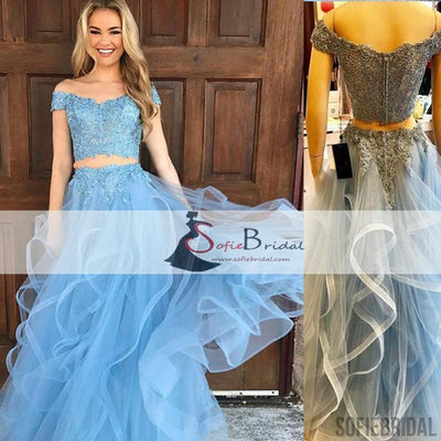 2 pieces Off Shoulder Blue Lace Tulle Prom Dresses, Lovely Prom Dresses, Long Prom Dresses, PD0419