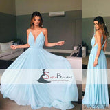Spaghetti V-neck Light Blue A-line Chiffon Prom Dresses, Simple Prom Dresses, Bridesmaid Dresses, PD0471
