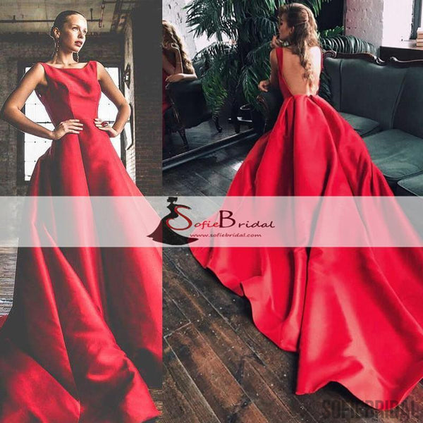 Scoop Backless Red A-line Satin Prom Dresses, Long Train Prom Dresses, Formal Dresses, PD0466