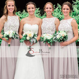Lace Top Chiffon Bridesmaid Dresses, A-line Bridesmaid Dresses, Cheap Bridesmaid Dresses, PD0487