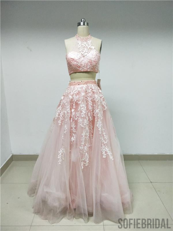 2-Pieces Light Pink Lace Tulle Prom Dresses_US4, SOD002