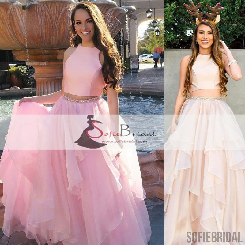 2 Pieces Satin Top Organza Prom Dresses, Simple Design Popular Prom ...