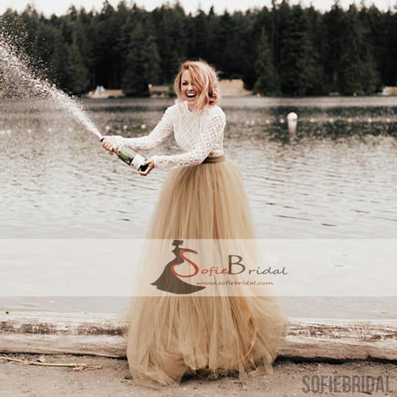 Round neck long sleeve backless lace tulle wedding dresses country round neck long sleeve backless lace tulle wedding dresses country wedding dresses wd0262 junglespirit